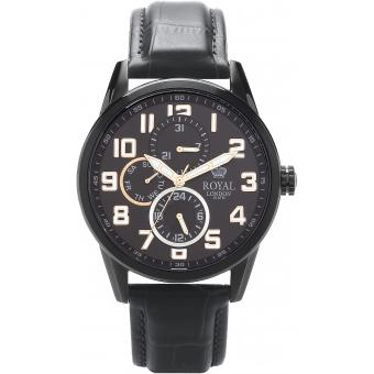 Montre Royal London 41044-06 - Montre Chic Cuir Noire Homme