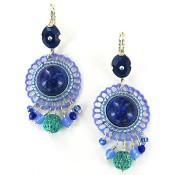 Boucles d'oreilles Satelitte Windflower Pierres et Perles Bleues - Satellite