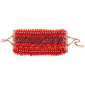 Bracelet Manchette Perles Rouges Rio - Satellite