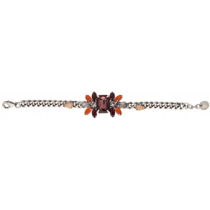 Bijoux Fantaisie Scooter : Bracelet pierre fleur rouge scooter bijoux