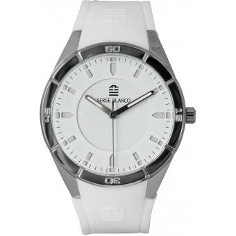Montre Serge Blanco All Colors SB1095-10 - Montre Silicone Blanche Homme