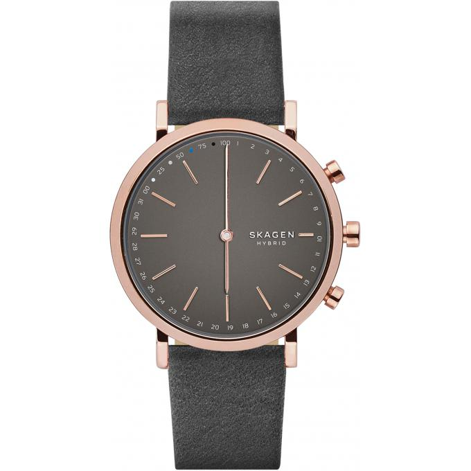 montre connect e skagen skt1207 montre connect e multifonctions cuir gris femme sur bijourama. Black Bedroom Furniture Sets. Home Design Ideas