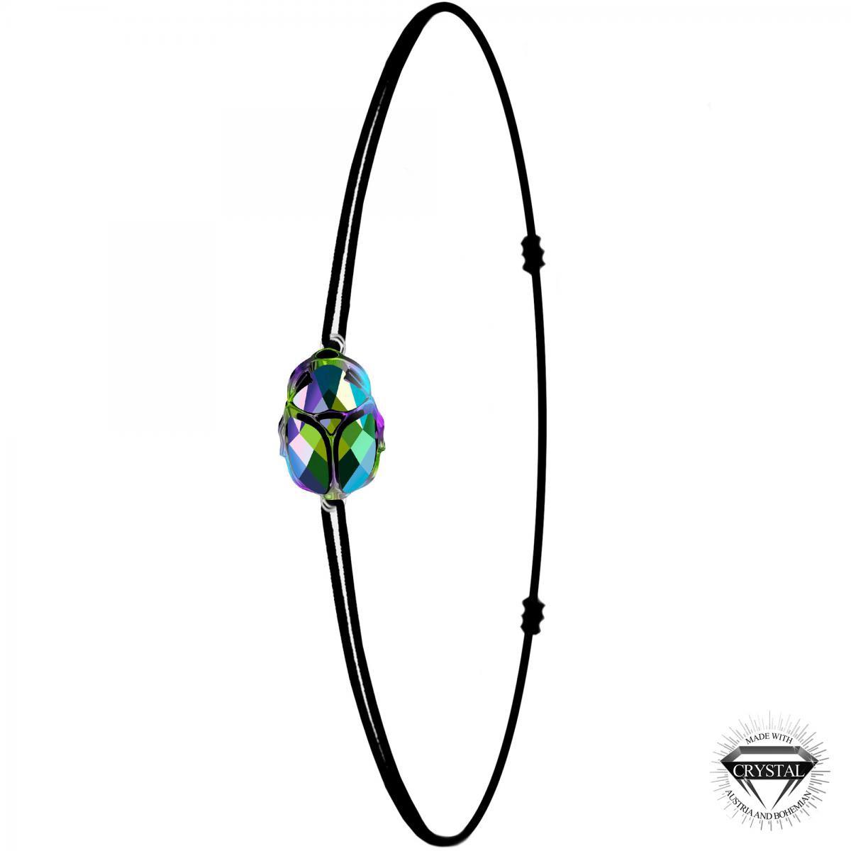 Bracelet scarabé noir SoCharm orné de Cristaux Swarovski