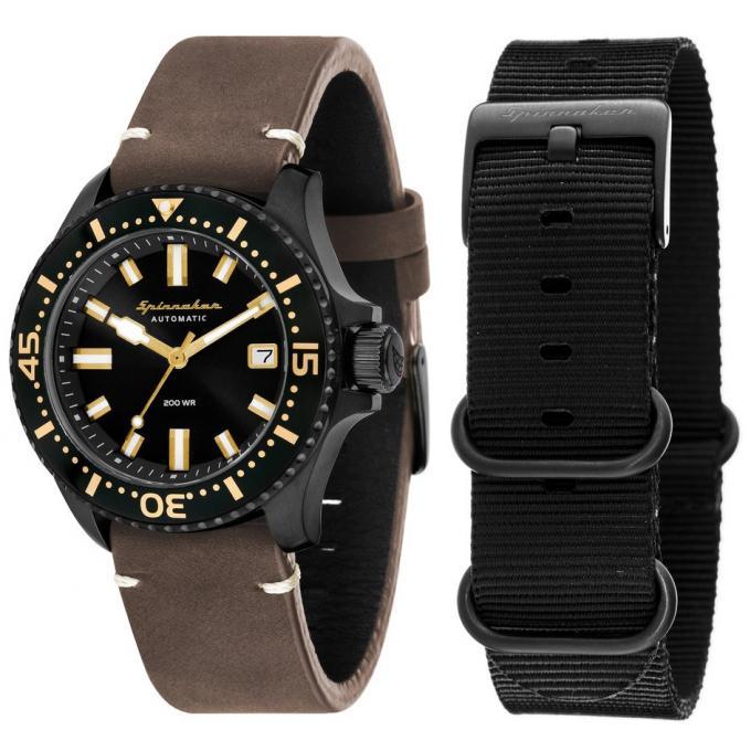 le prix reste stable style à la mode choisir l'original Coffret Spinnaker SP-5039-05 - Spence Bracelet Cuir Marron Boitier Acier  Noir + Bracelet Nato Homme Plus d'infos