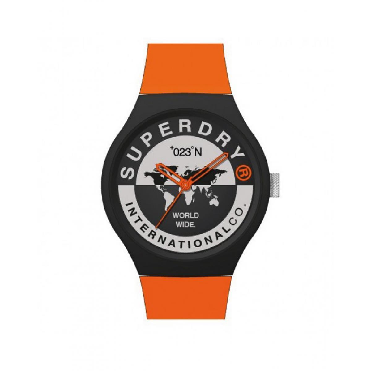 Montre Superdry SYG279BO Urban XL international Boitier rond en plastique noir Cadran gris et motifs Bracelet en silicone orange
