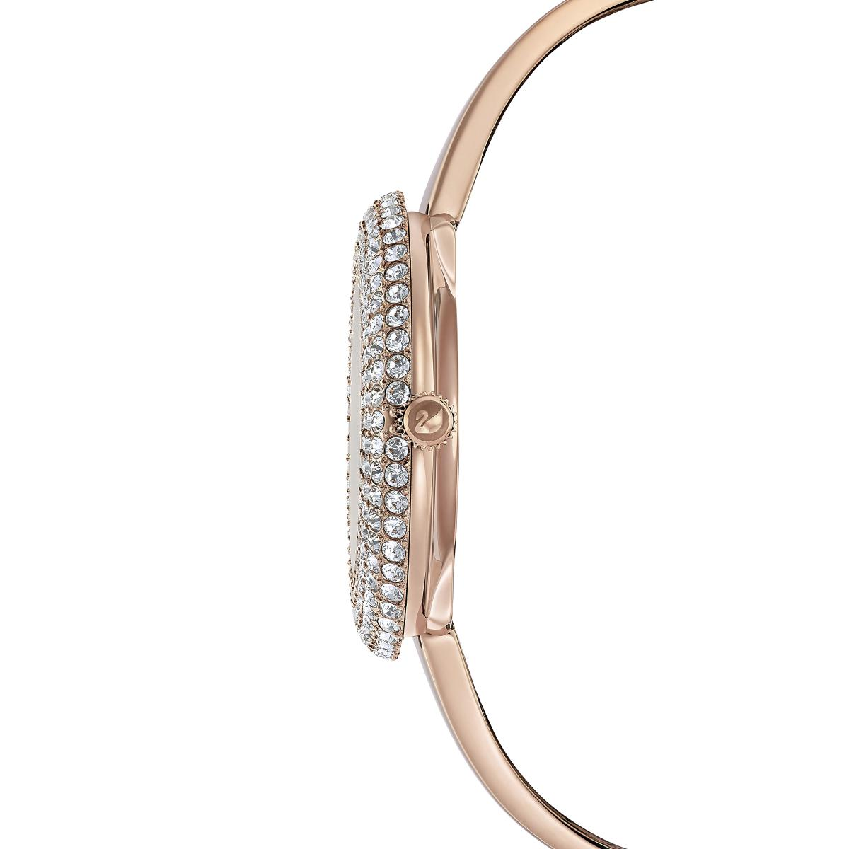 Montre Swarovski 5484073 - Crystal Rose Bracelet Jonc Acier Doré Rose  Lunette Sertie En Micro-Pavé Femme