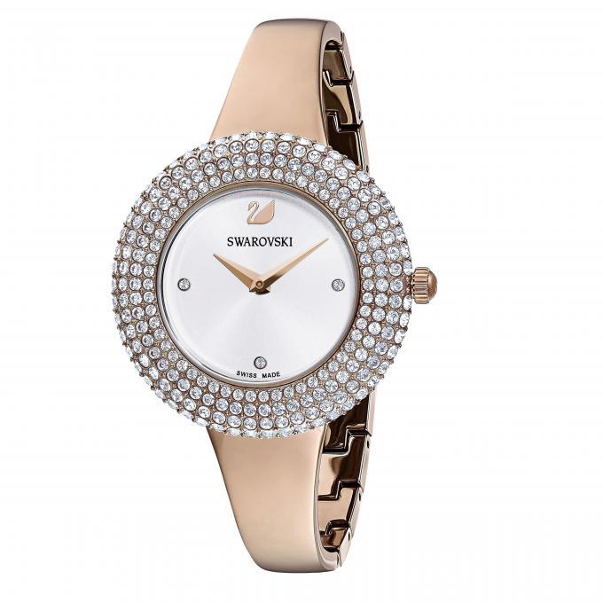Swarovski Micro Pavé Plus Acier 5484073 Sertie Rose Doré Montre Jonc En Femme Crystal Lunette D'infos Bracelet 9eWED2IHY