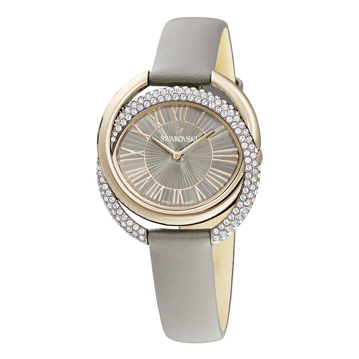 Montre Swarovski 5484382 - DUO Bracelet Cuir De Veau Gris Boîtier Acier  Anneaux Entremêlés Cristaux Sertis Micro-Pavé Femme