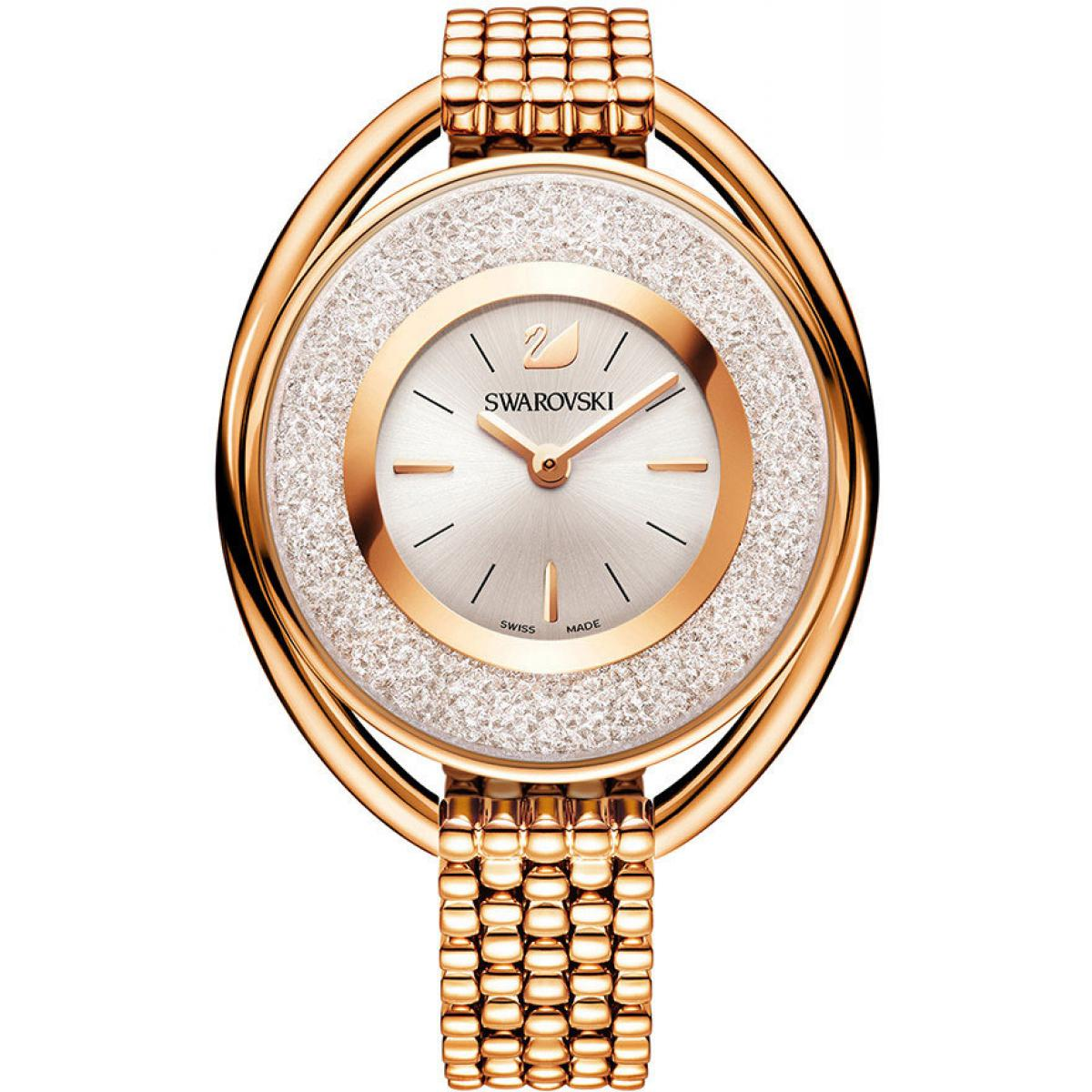 Montre Swarovski Crystalline 5200341 - Montre Ronde Acier Dorée Rose Femme