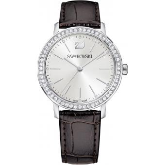Montre Swarovski Graceful Lady 5261668 - Montre Cuir Marron Cristaux Swarovski Femme