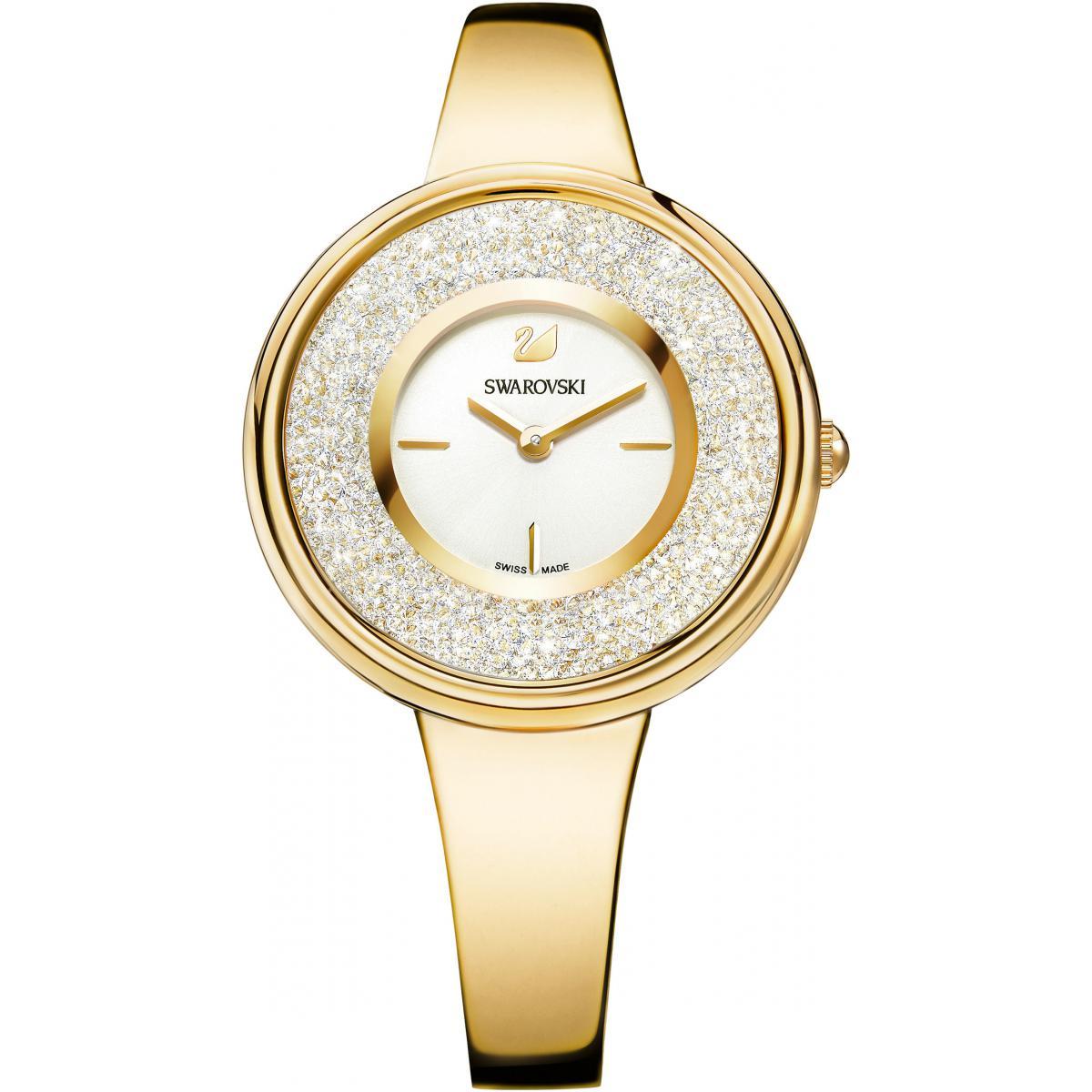 Montre Swarovski Crystalline Pure 5269253 - Montre Acier Dorée Cristaux  Swarovski Femme