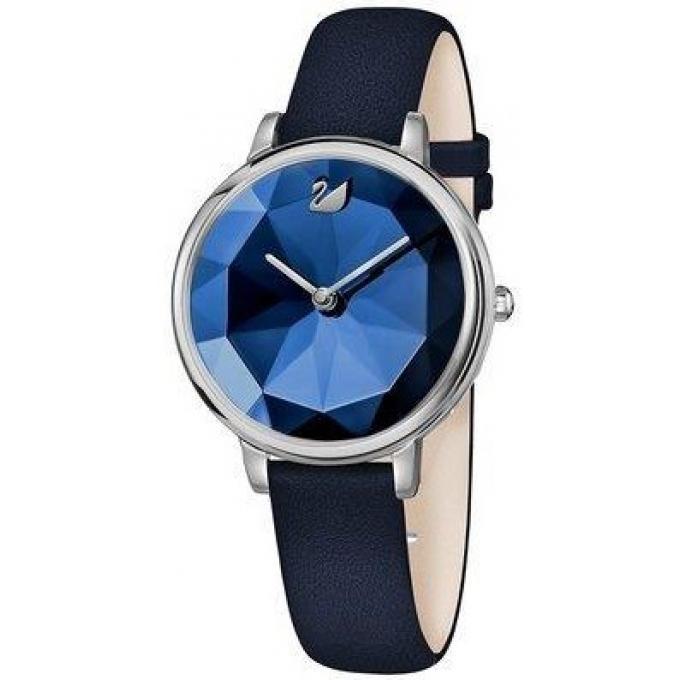 montre swarovski 5416006 crystal lake bracelet cuir bleu boitier acier cadran bleu femme sur. Black Bedroom Furniture Sets. Home Design Ideas