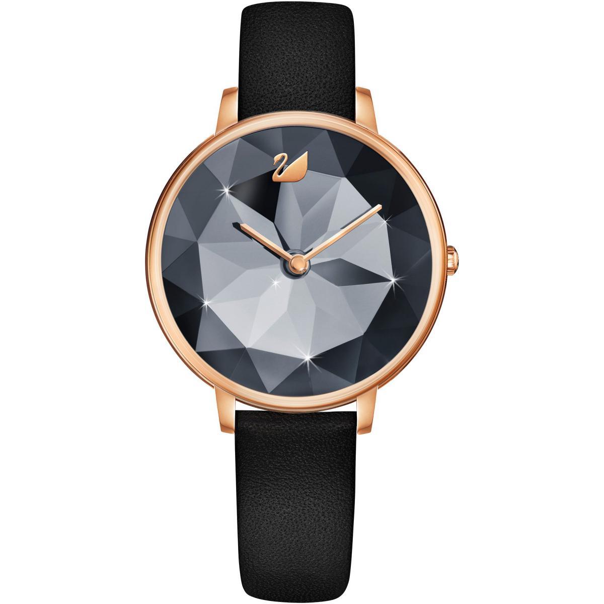 Montre Swarovski 5416009 - CRYSTAL LAKE Bracelet Cuir Noir Boitier Acier  Doré Rose Cadran Noir Femme