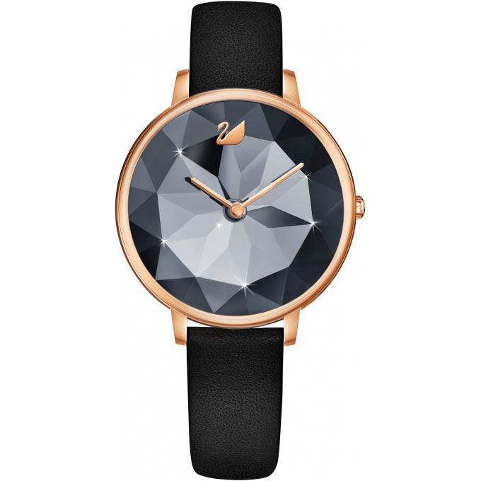 montre swarovski 5416009 crystal lake bracelet cuir noir boitier acier dor rose cadran noir. Black Bedroom Furniture Sets. Home Design Ideas