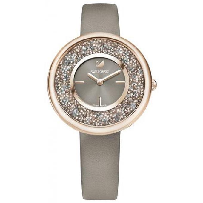 montre swarovski 5416704 crystalline pure bracelet cuir beige boitier acier or rose cadran. Black Bedroom Furniture Sets. Home Design Ideas