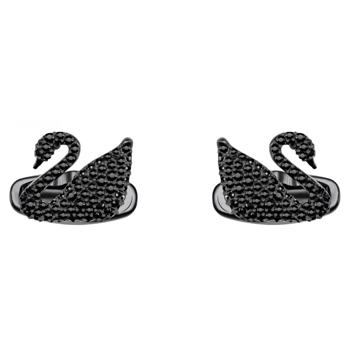 Promo : Boutons de Manchettes Swarovski Bijoux 5427129 - Acier Noir Cristaux Swarovski Femme