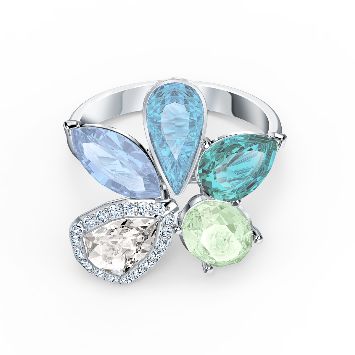 Bague Swarovski 5520491 - Bague métal argenté mix cristaux bleu vert et  blanc Femme