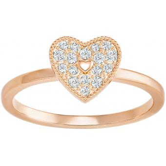 Bague Swarovski Field:Ring Folded Heart Silk/Ros - Bague C?ur Or Rose Femme