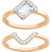 Bague Swarovski Bijoux Gallery:Ring Sq Set Czwh/Cry/Ros - Bague Double Anneaux Serties Femme