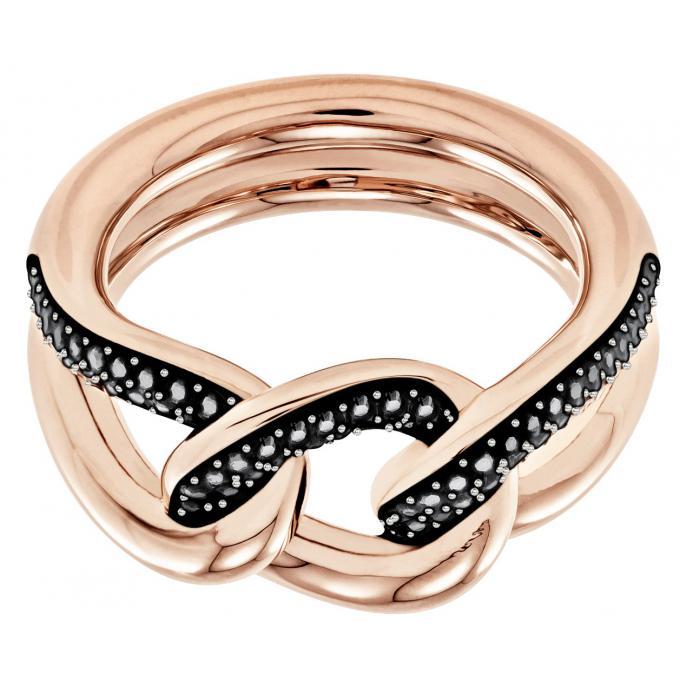 bague swarovski bijoux 5424193 acier dor rose noir cristaux swarovski femme sur bijourama. Black Bedroom Furniture Sets. Home Design Ideas