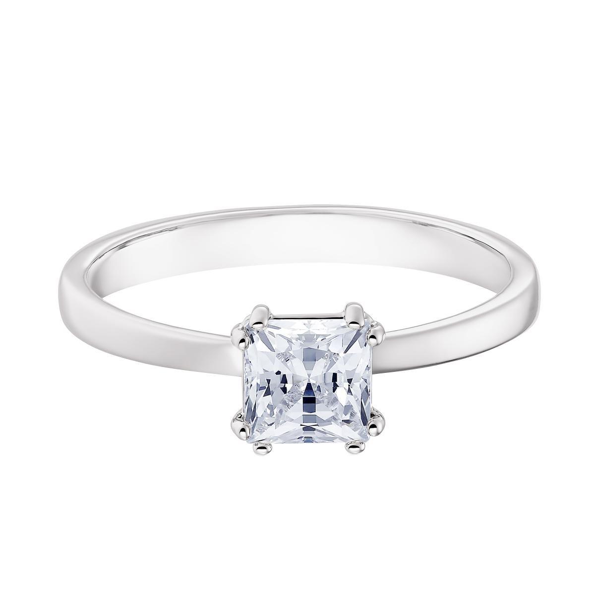 Bague Swarovski 5402435 - Bague Étincelante Métal Rhodié Pierre en cristal  Carrée Femme