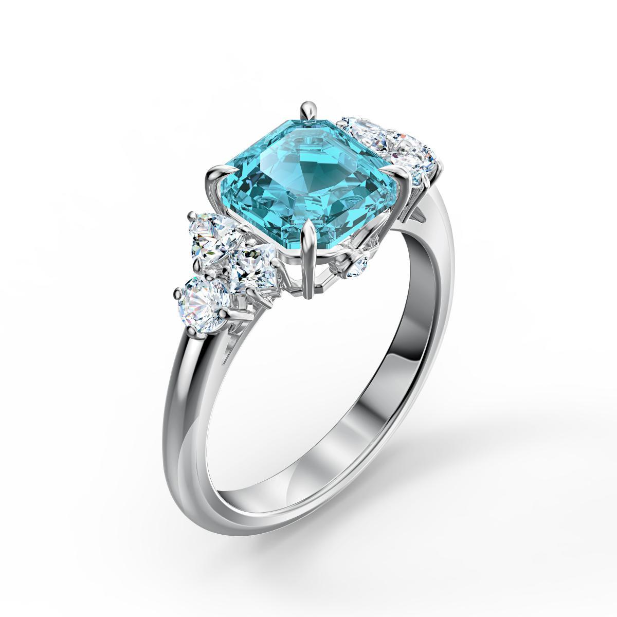 BAGUE Swarovski 5535592 - Bague métal argenté brillant perle bleue Femme