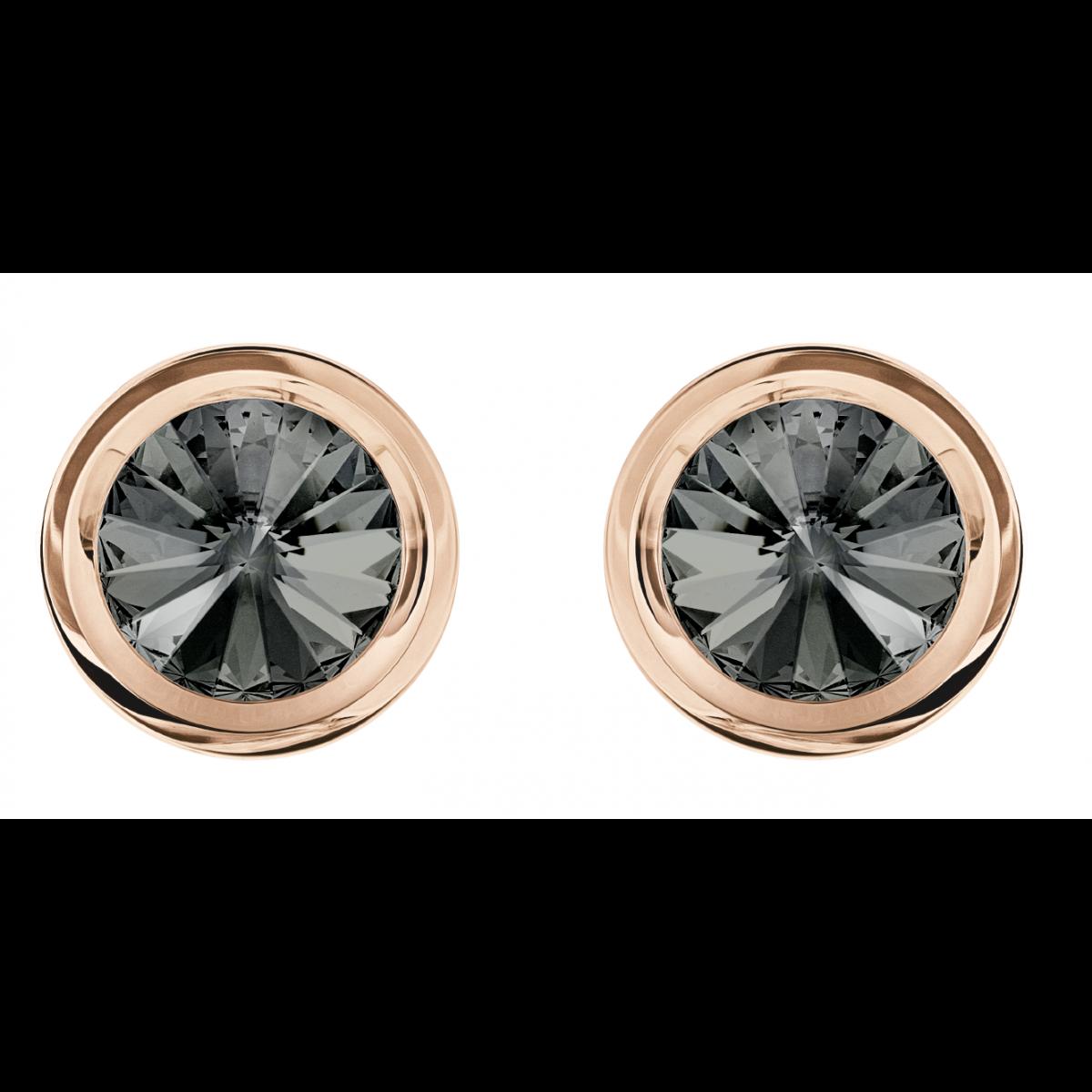 Boutons de manchette Swarovski 5429900 - Round Gris Métal Doré Rose Homme