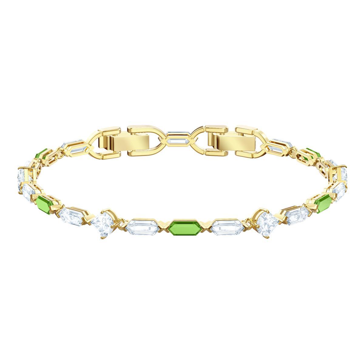 Bracelet Swarovski 5459392 - Bracelet Timeless Elegance Doré Pierres Vertes  Femme