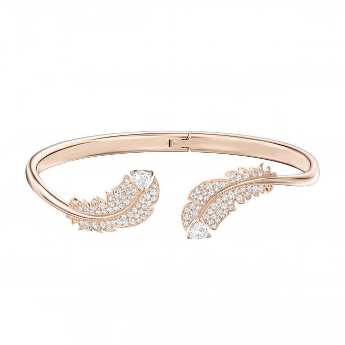Bracelet Swarovski 5505622 , Métal Rhodié Motifs Plumes Cristal Doré Rose  Femme Plus d\u0027infos