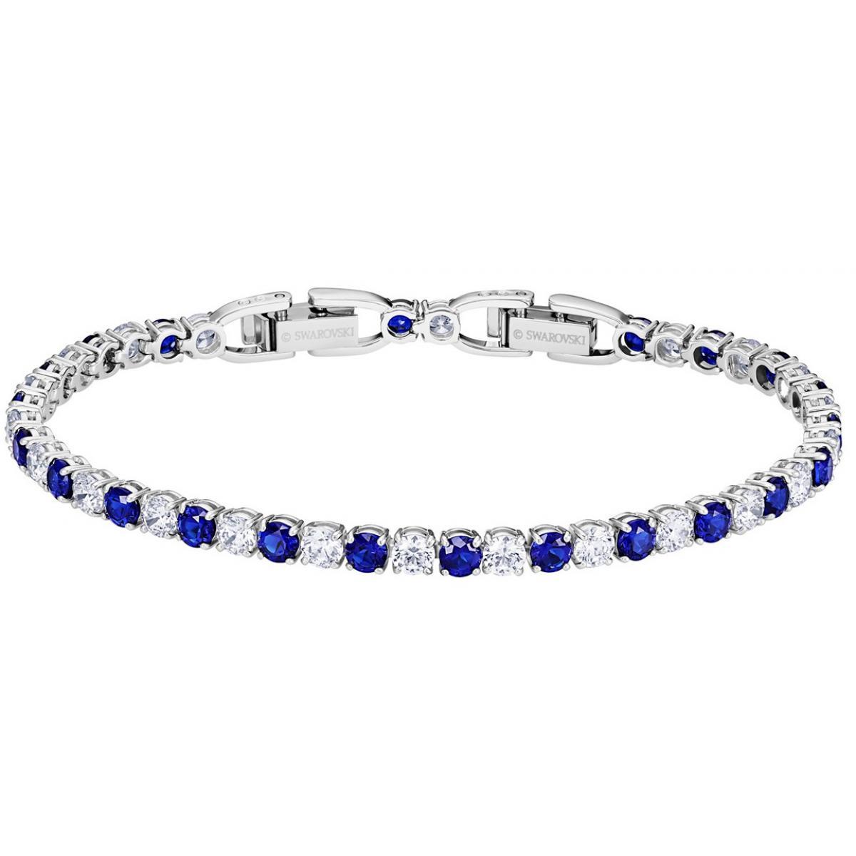 Bracelet Swarovski 5506253 - Tennis Métal Rhodié Pierres en cristal bleu  serti griffe Femme