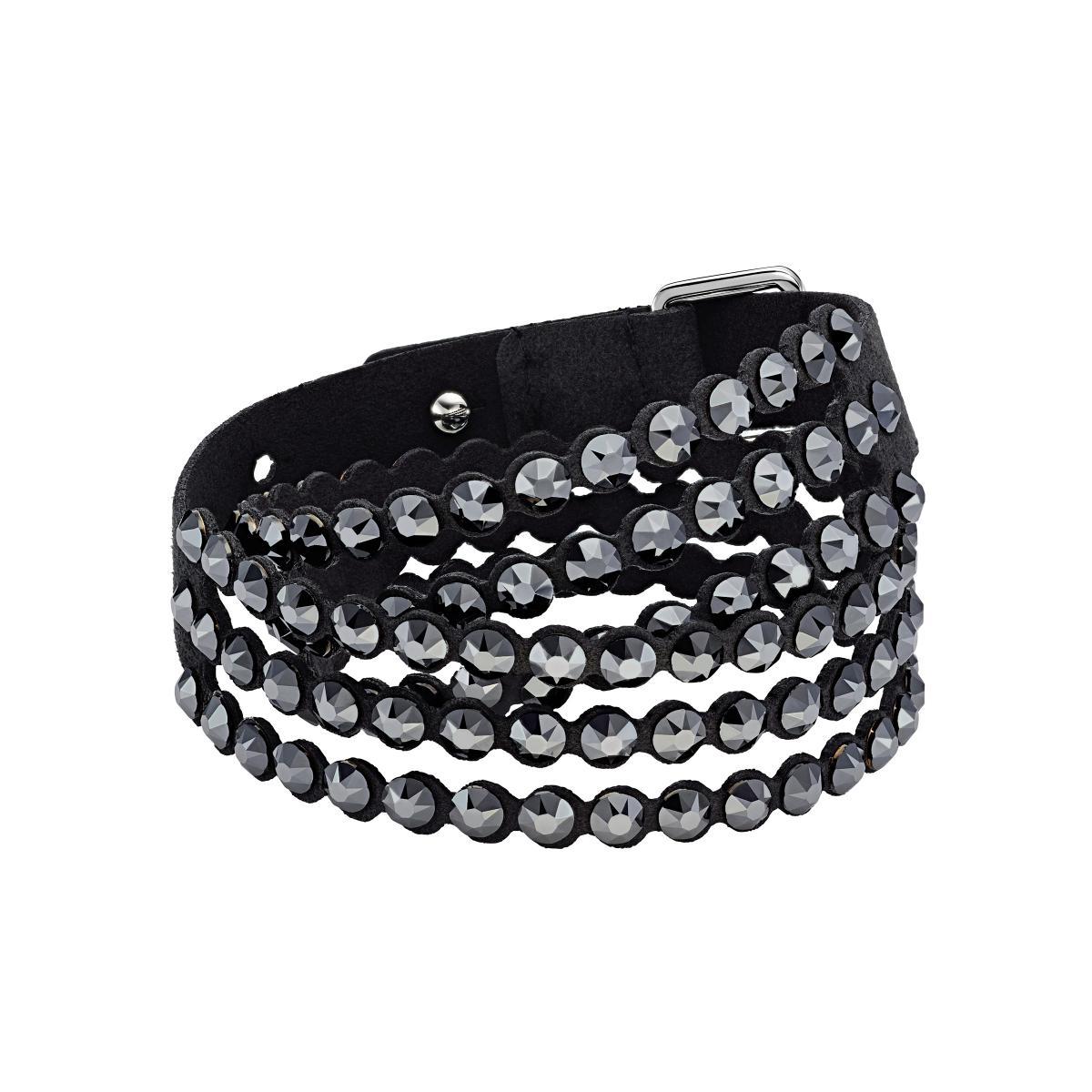 Bracelet Swarovski 5512512 - Iconique Slake Cristaux Noirs Tissu Alcantara®  Femme
