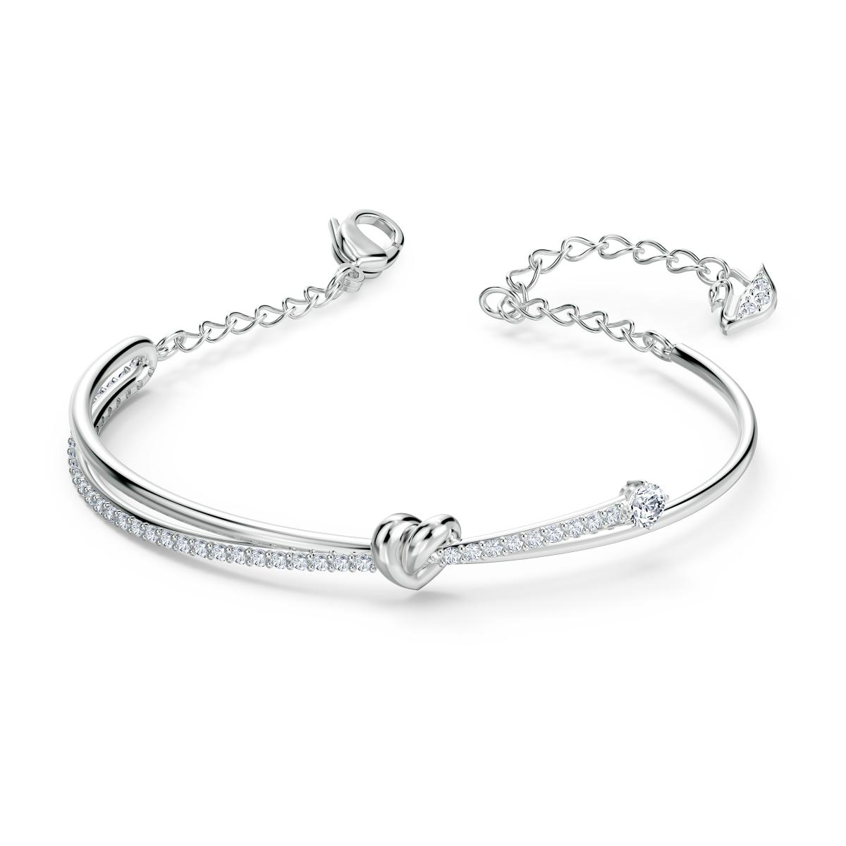 Bracelet Swarovski 5517944 - Bracelet métal rhodié blanc mini cœur Femme