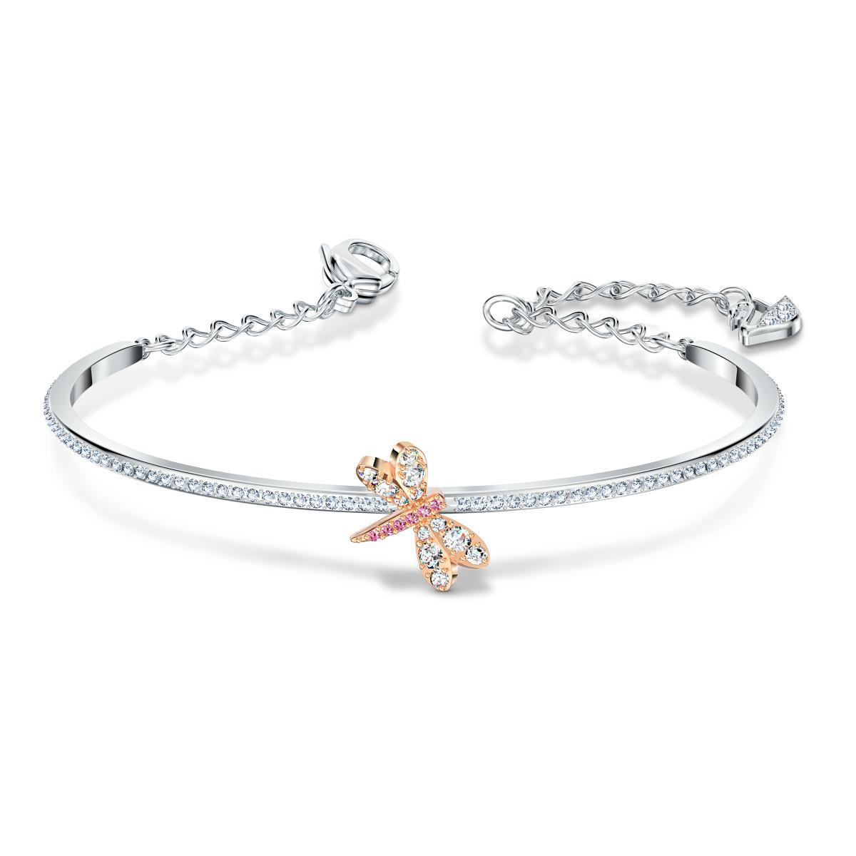 Bracelet Swarovski 5518138 - Bracelet métal argenté libéllule rose strass  Femme