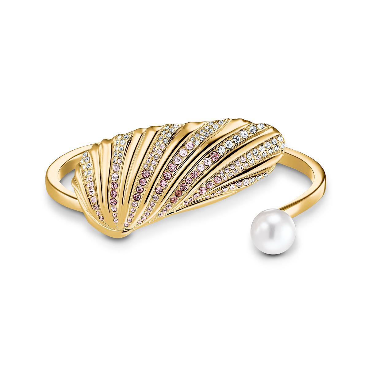 Bracelet Swarovski 5520665 - Bracelet métal or coque sertis et perle blanc  Femme