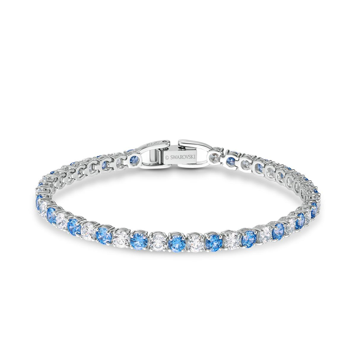 BRACELET Swarovski 5536469 - Bracelet Métal Argenté Chaîne Cristaux Bleu et  Blanc Femme