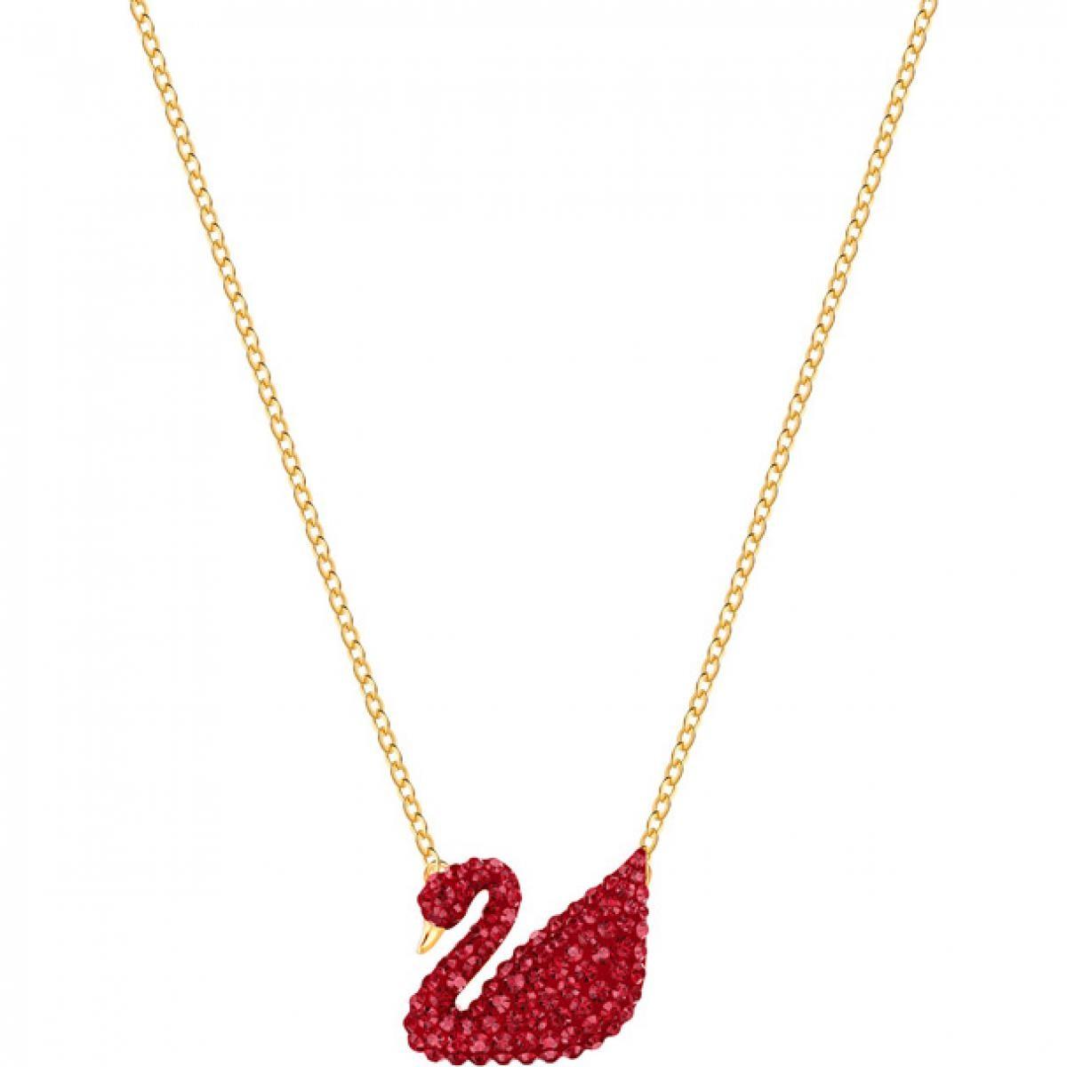 Collier et pendentif Swarovski 5465400 - Iconic swan, rouge, métal doré  Femme