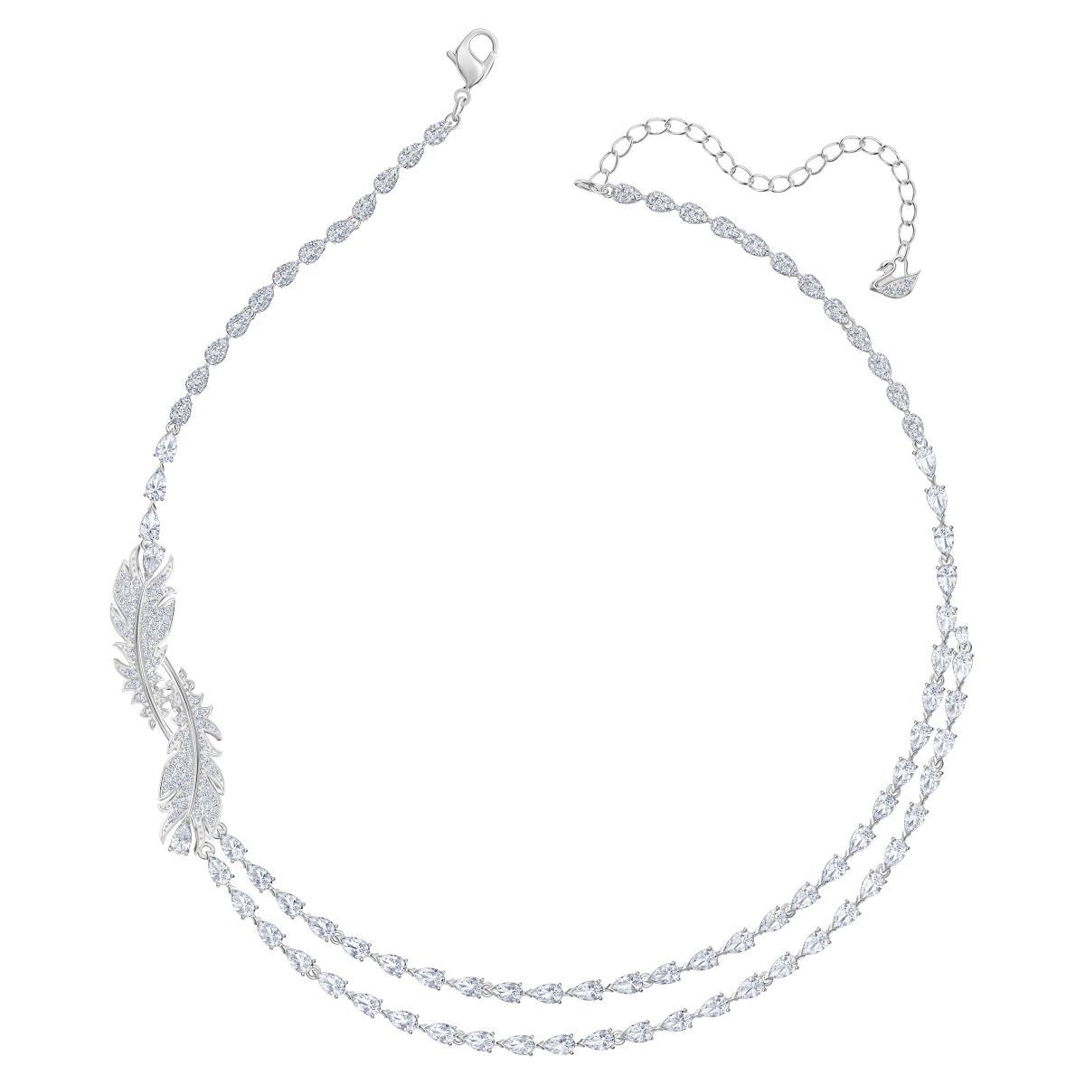 Collier et pendentif Swarovski 5493404 - Double Rang Métal Argenté Plume  Cristaux Incolores Femme