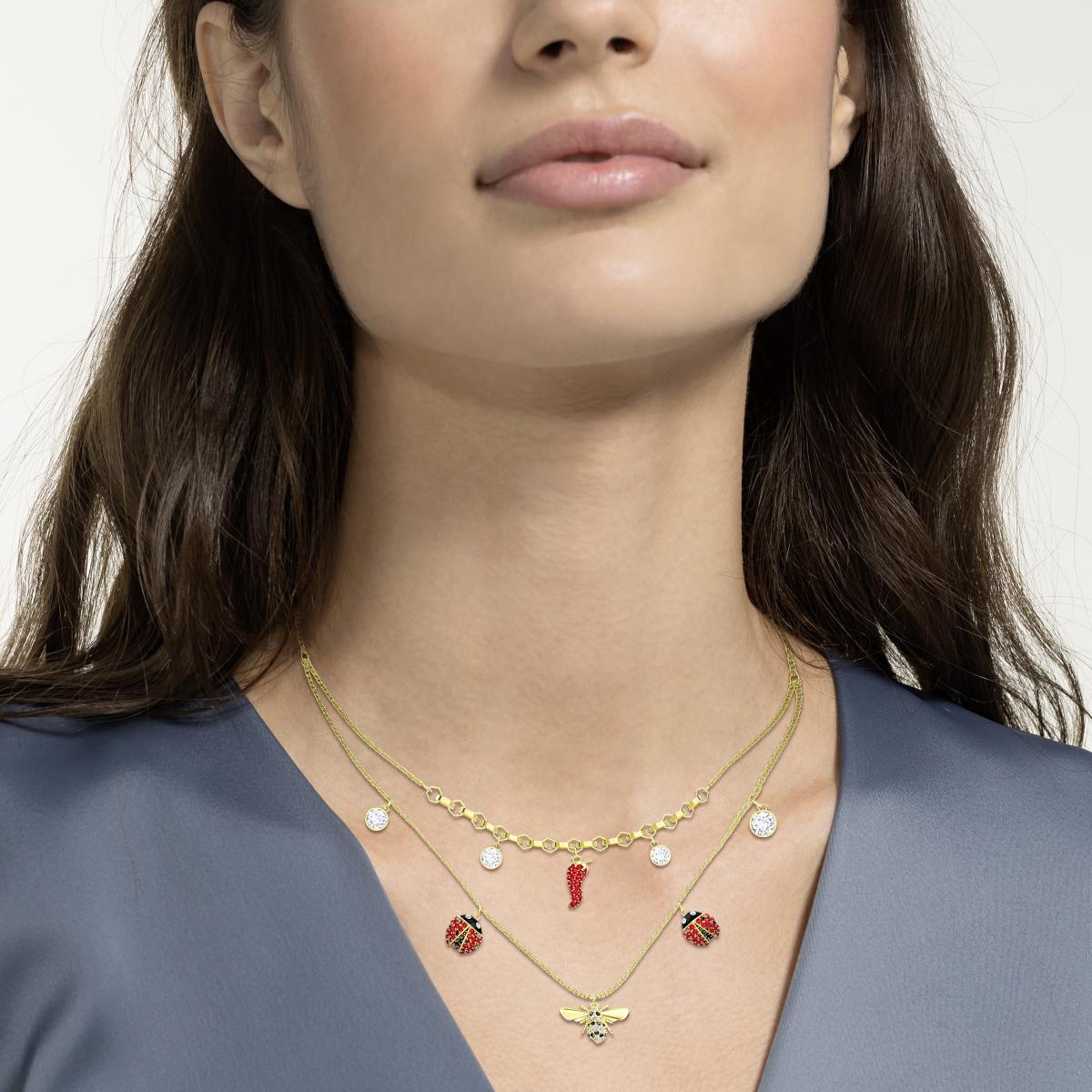 Collier et pendentif Swarovski 5498807 - Doré Double Chaîne Abeille  Coccinelle Féeriques Cristaux Swarovski Sertis Femme