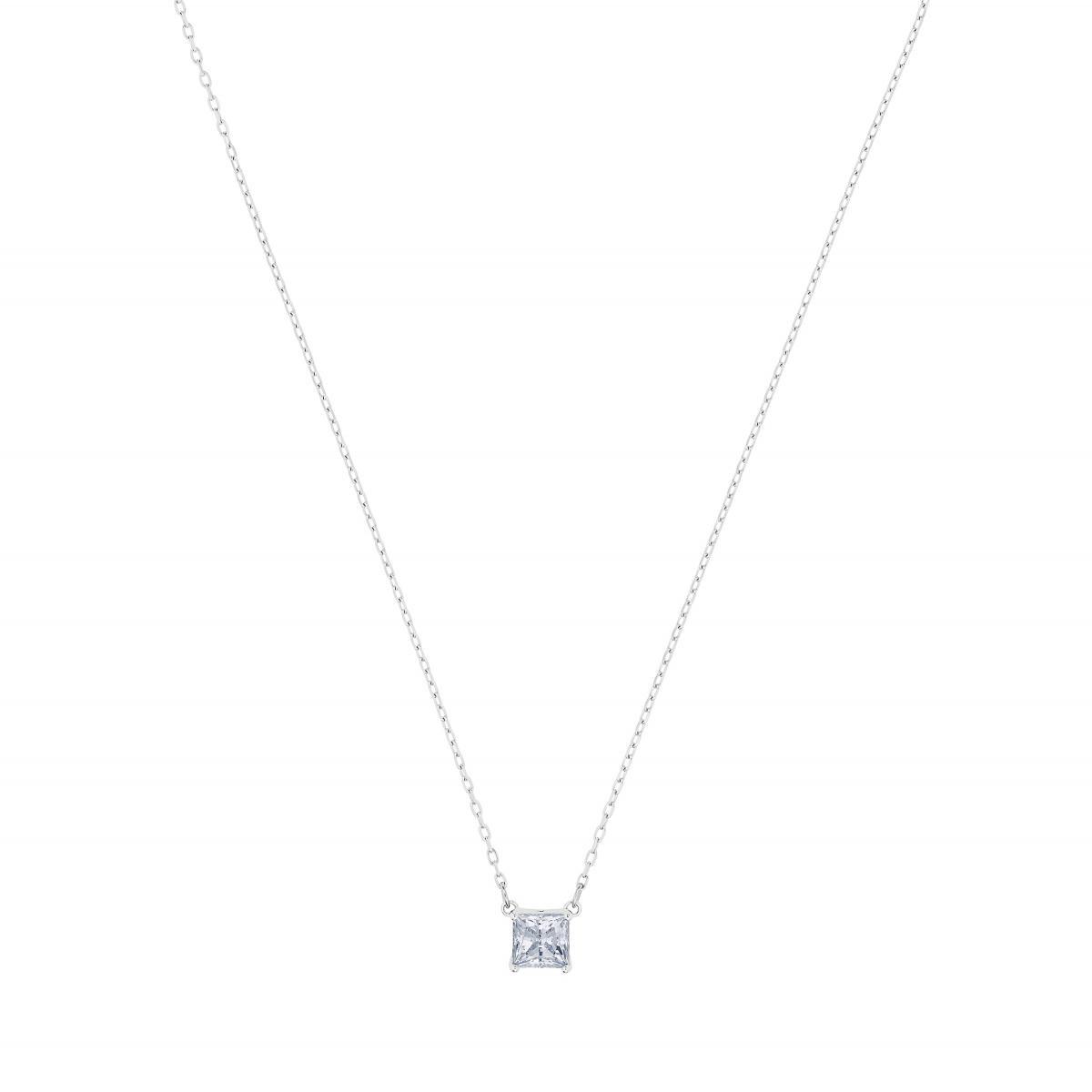 Collier et pendentif Swarovski 5510696 - Collier Attract Métal Rhodié  Arborant Pierre en cristal carré Femme
