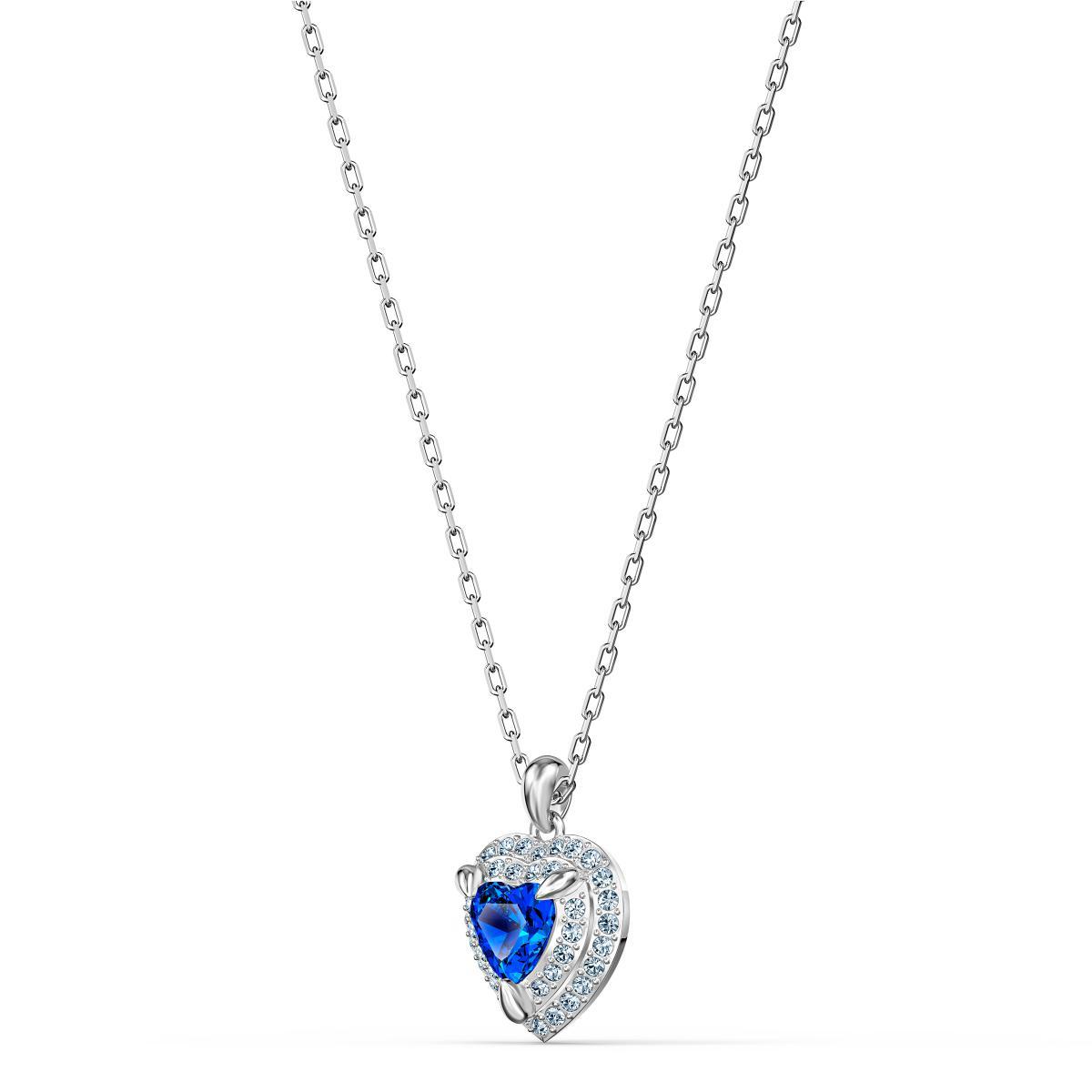 COLLIER Swarovski 5511541 - Collier Métal Argenté Coeur Strass et Cristal  Bleu Femme