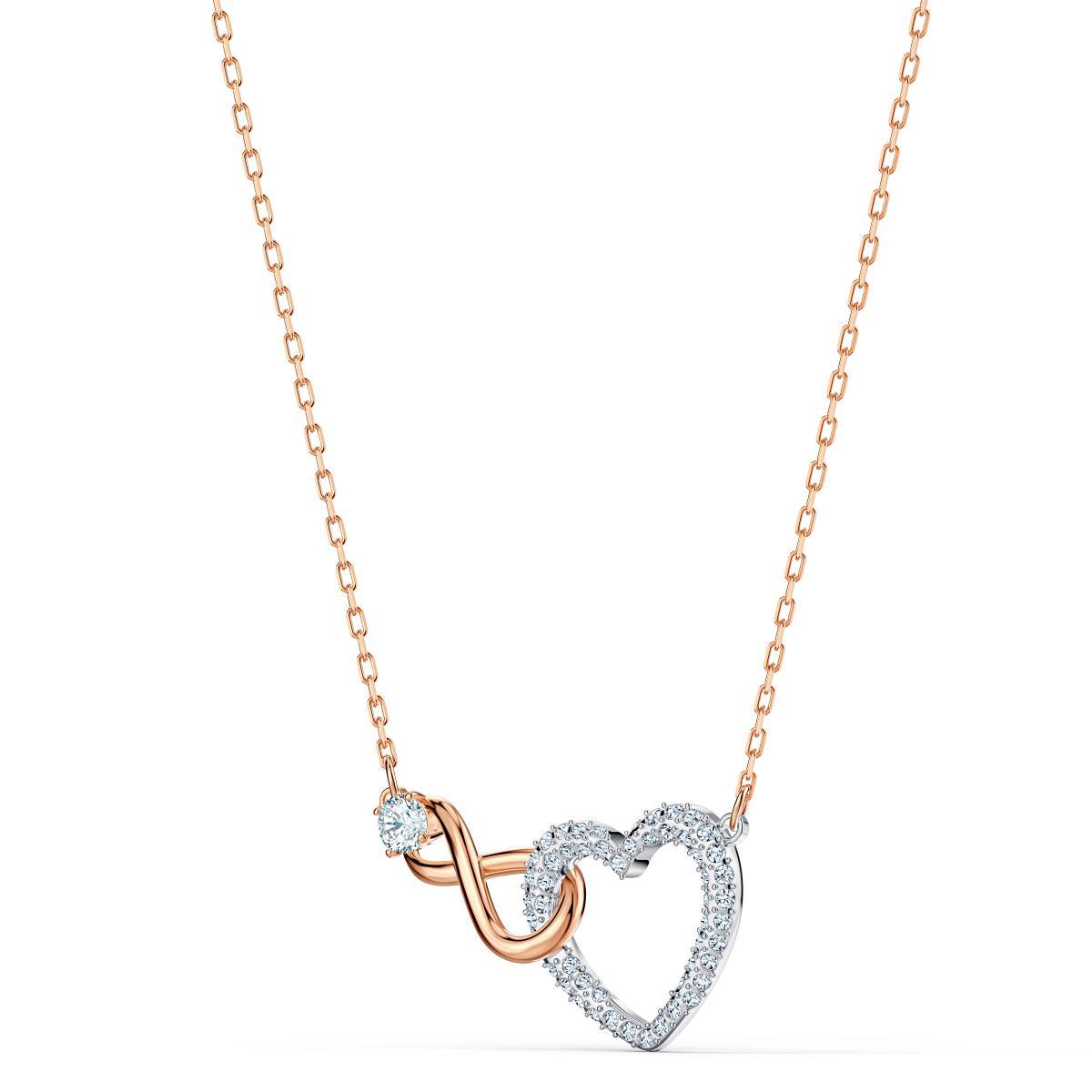 Collier Swarovski 5518865 - Collier or doré et argenté pendentif cœur  infini Femme