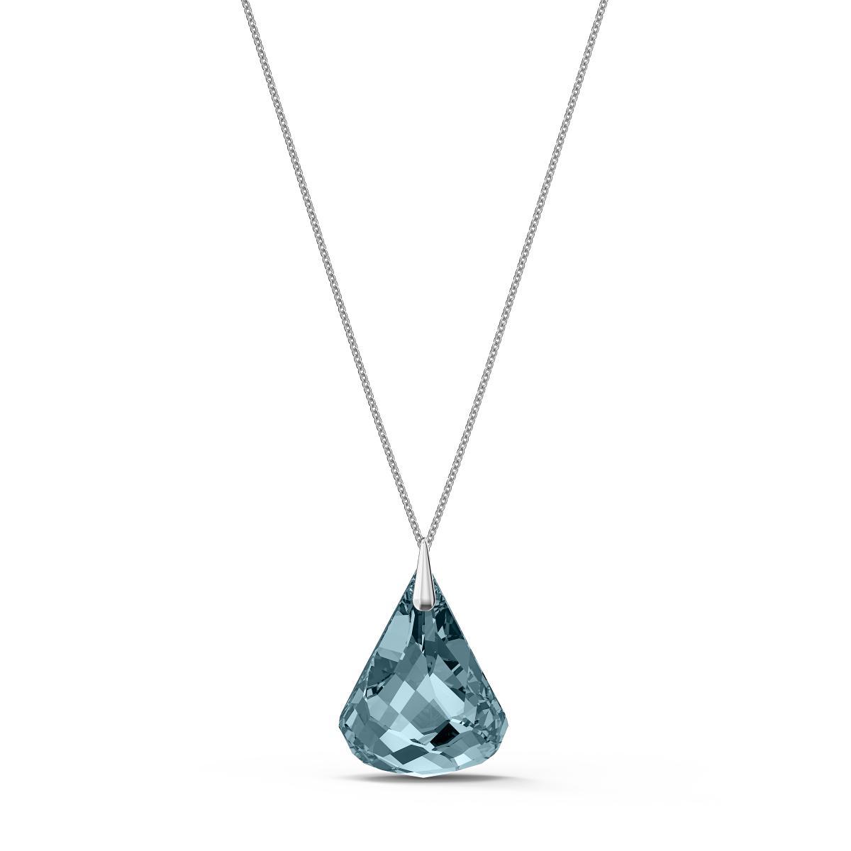 Collier Swarovski 5521034 - Collier métal blanc pierre bleue brillante Femme