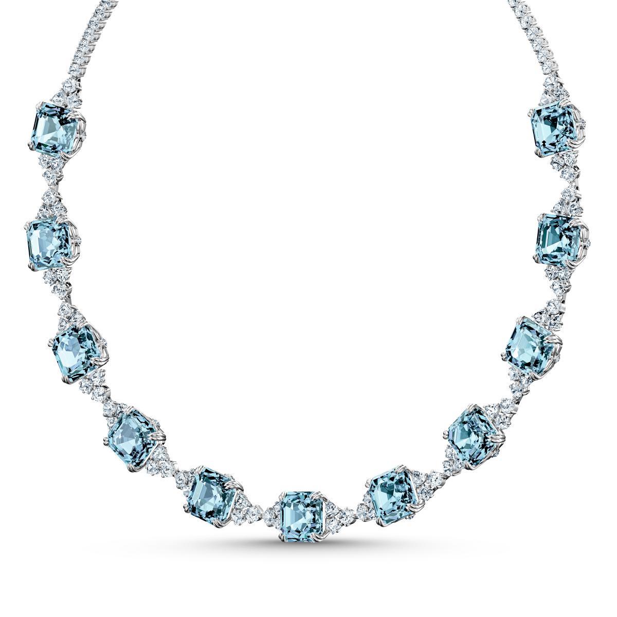 COLLIER Swarovski 5528875 - Collier métal argenté brillant cristaux bleu  Femme