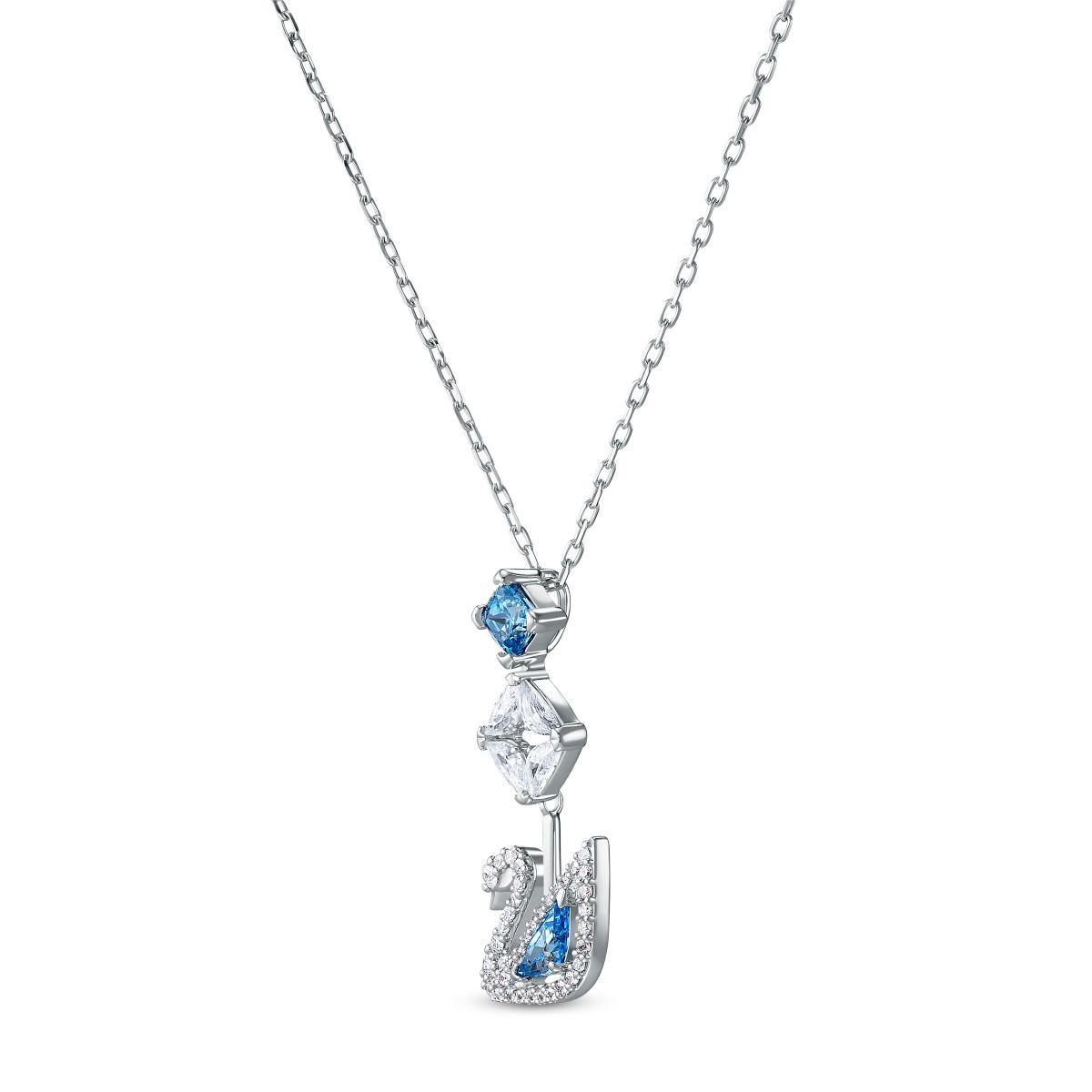 COLLIER Swarovski 5530625 - Collier Métal Argenté Cygne et Cristal Bleu  Strass Blanc Femme