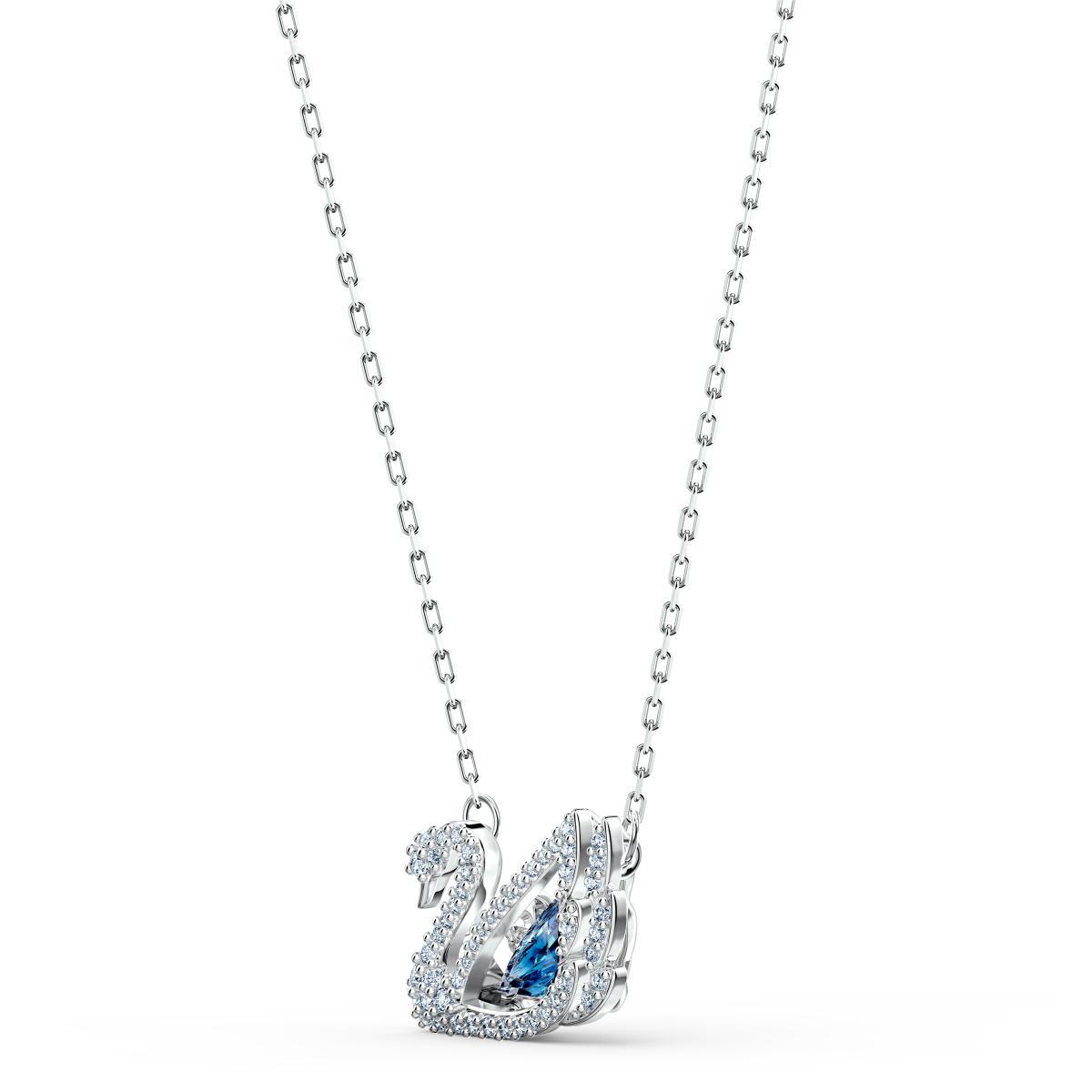 COLLIER Swarovski 5533397 - Collier Métal Argenté Cygne Strass et Cristal  Bleu Femme