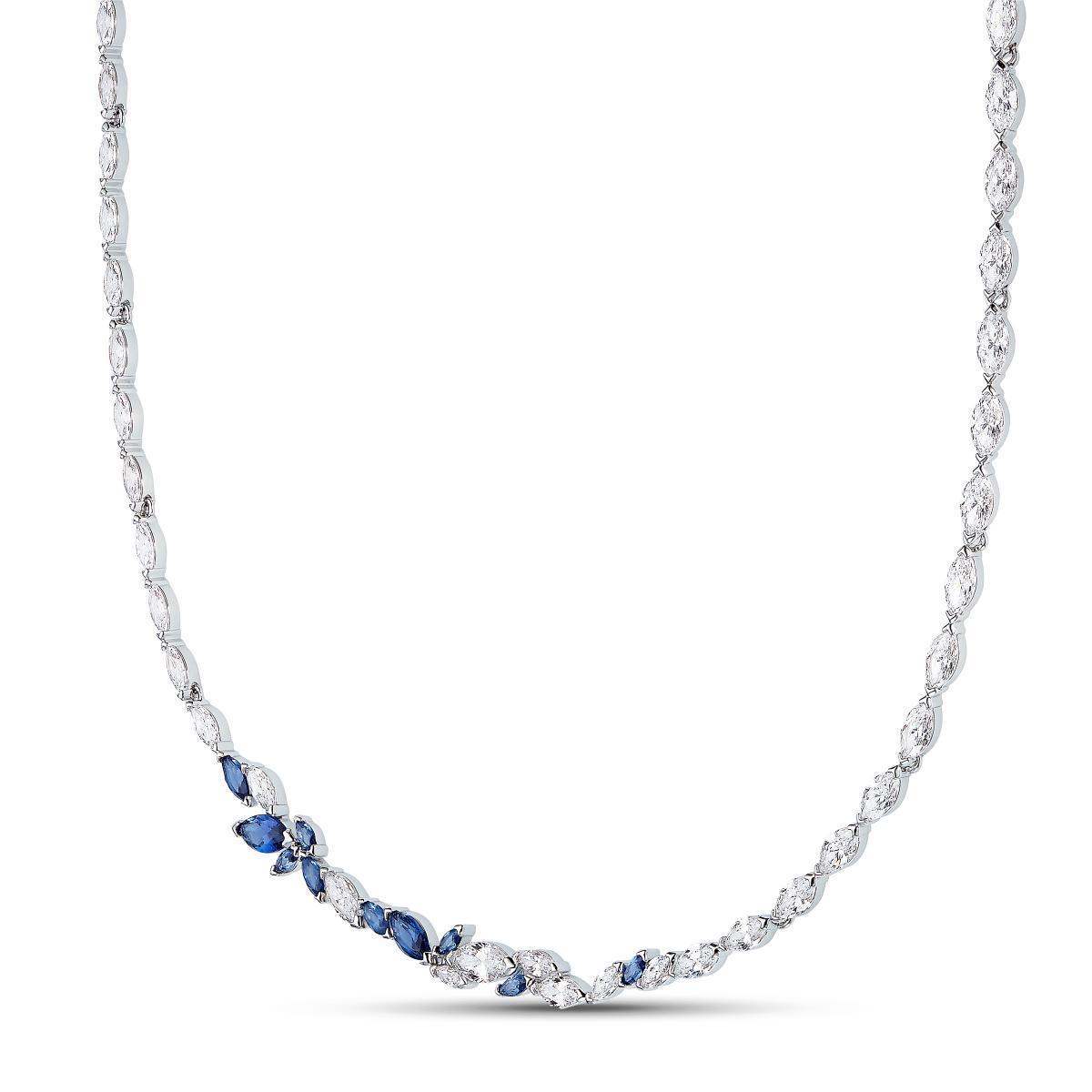 COLLIER Swarovski 5536547 - Collier Ras de Cou Feuille Cristaux Bleu Strass  Femme