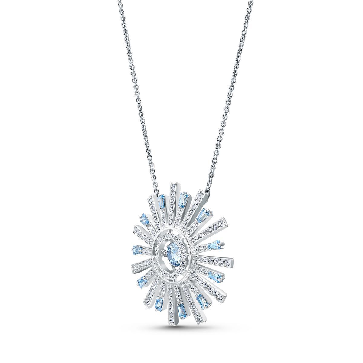 COLLIER Swarovski 5536731 - Collier Métal Argenté Soleil Cristaux Blanc et  Bleu Femme