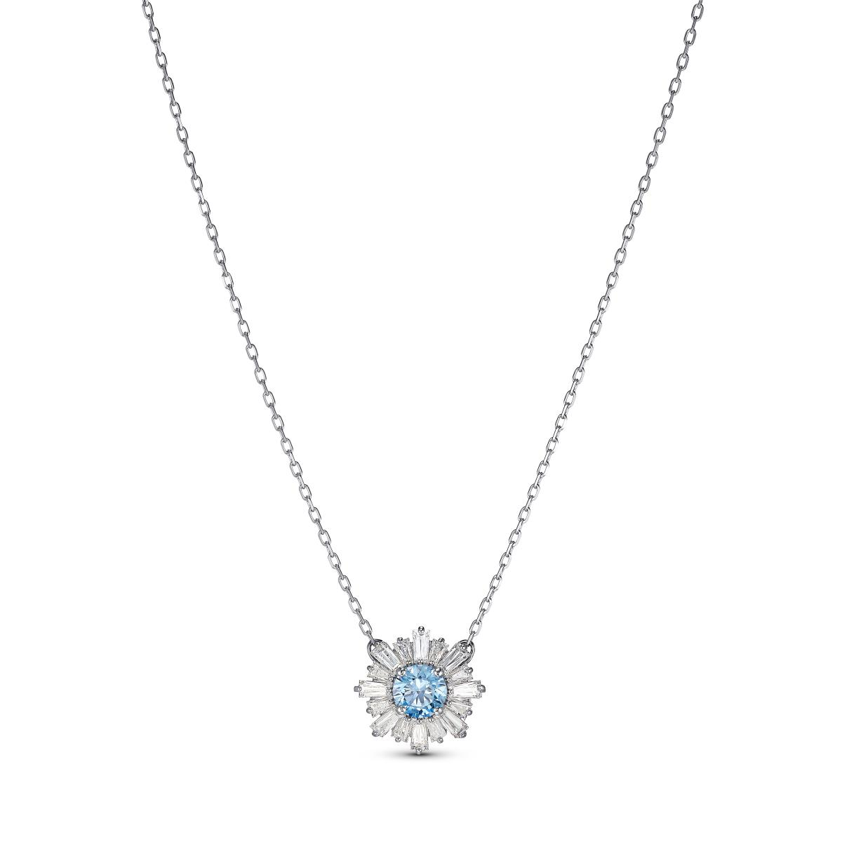 COLLIER Swarovski 5536742 - Collier Métal Argenté Cristal Bleu et Blanc  Femme