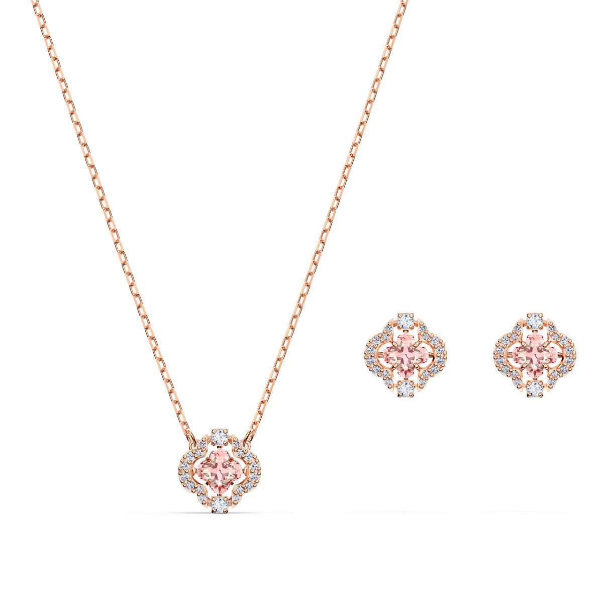 SET Swarovski 5516488 - Set collier et boucles d'oreilles métal rose  pierres sertis blanc Femme