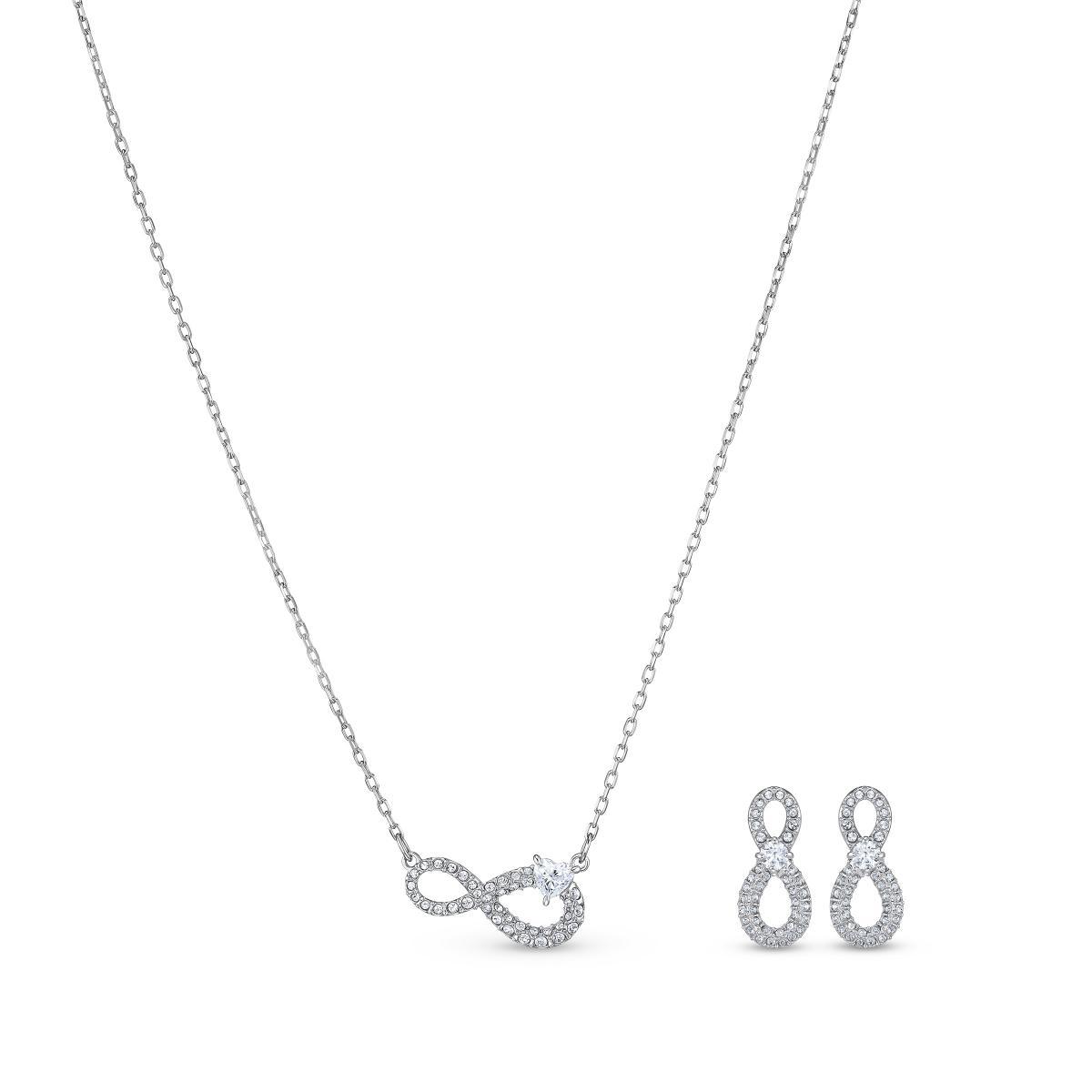 SET Swarovski 5540702 - Set collier et boucles d'oreilles métal argenté  infini strass